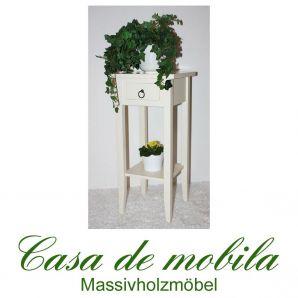 Massivholz Blumentisch Blumenhocker Blumenständer antik cremeweiß 70 cm DECOR