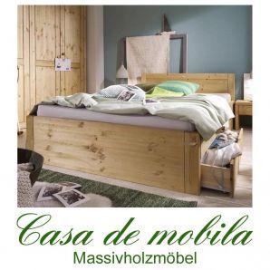 Massivholz Bett Mit Schubladen Kiefer massiv gelaugt geölt Holzbett RAUNA XL 180x200 Schubladenbett