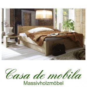 Massivholz Schubladenbett  Kiefer massiv gelaugt geölt Bett Mit Schubladen Funktionsbett RAUNA Schubkastenbett 200x200