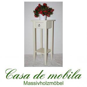 Massivholz Blumentisch Blumenhocker Blumenständer cremeweiß 80 cm DECOR