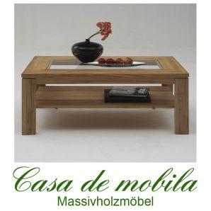 Massivholz Couchtisch mit Glasplatte Buche massiv natur geölt CASERA 125x75 cm
