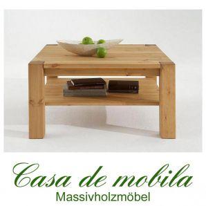 Massivholz Couchtisch Kiefer massiv gelaugt geölt naturholz Wohnzimmertisch GULDBORG - 90x90