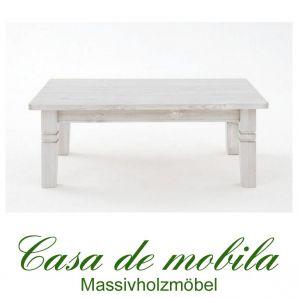 Massivholz Couchtisch Holz Kiefer massiv weiß lackiert - Bergen 120x78