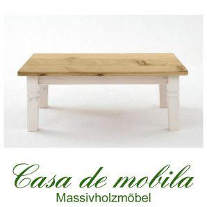 Massivholz Couchtisch Holz Kiefer massiv 2-farbig weiß / gebeizt-geölt - Bergen 120x78