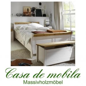 Massivholz Schubladenbett Funktionsbett 90x200 Kiefer massiv weiß gelaugt geölt 2-farbig EVA