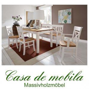 Massivholz Essgruppe Tischgruppe weiß / gebeizt-geölt Kiefer massiv 2-farbig Fjord
