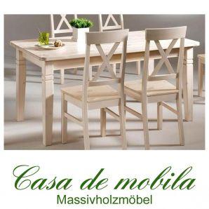 Tisch landhausstil weiß Küchentisch lackiert 160x90 Fjord - Holz Kiefer massiv
