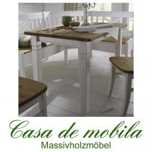 Tisch landhausstil weiß gelaugt geölt Küchentisch 120x78 Fjord - Holz Kiefer massiv 2-farbig