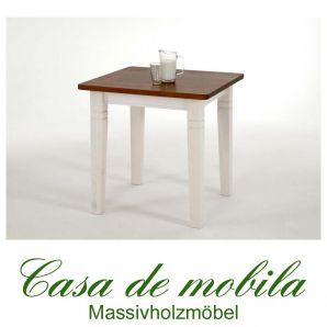 Massivholz Tisch weiß honig Küchentisch klein 78x78 Fjord Holz Kiefer massiv 2-farbig  lackiert