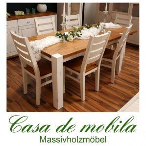 Massivholz Esstisch 140x90 Kiefer massiv 2-farbig weiß / provance Tisch Kieferntisch GULDBORG