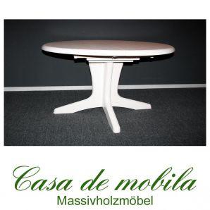 Vollholz Esstisch ausziebar Holz Kiefer massiv weiß lasiert Stella oval 139x100 mit Einlegeplatte.