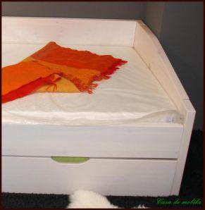 Massivholz Bett mit bettschublade Kojenbett 90x200 / 90x190 Nils - Holz Kiefer massiv weiß lasiert