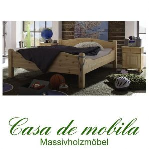 Massivholz Bett Kiefer massiv natur lackiert kinderbett Überlänge Holzbett ROJA 120x220,