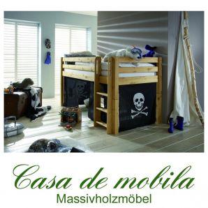 Massivholz Hochbett 90x200 mit Vorhang - Holz Kiefer massiv gelaugt geölt INFANSKIDS Pirat