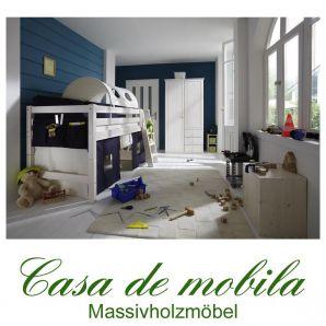 hochbett 90x200 mit vorhang marine natur kiefer massiv. Black Bedroom Furniture Sets. Home Design Ideas