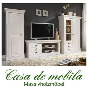 Massivholz Wohnwand Kiefer massiv weiss Anbauwand Wohnzimmerschrank BERGEN weiß