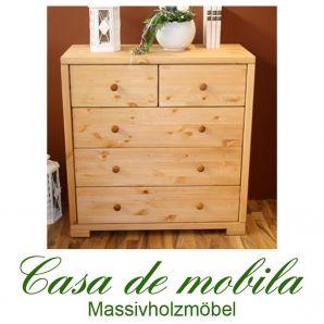 Massivholz Schubladenkommode Kiefer massiv gelaugt geölt Wäschekommode 3+2 RAUNA naturholz kommode