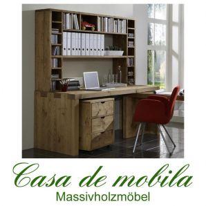 Massivholz Schreibtisch mit Aufsatz Kiefer massiv antik Büromöbel 3-teilig Malmoe