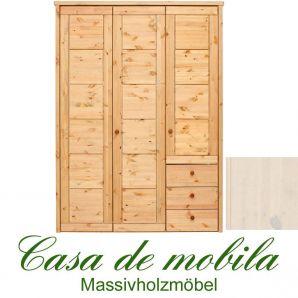 Massivholz Kleiderschrank Kiefer massiv weiß lasiert Schlafzimmerschrank RAUNA - 3-türig mit Kassetten-Front