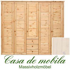 Massivholz Kleiderschrank Kiefer massiv weiß lasiert Schlafzimmerschrank RAUNA - 5-türig mit Kassetten-Front