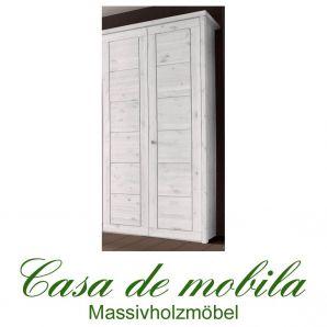 Massivholz Kleiderschrank Kiefer massiv weiß lasiert Schlafzimmerschrank RAUNA - 2-türig mit Kassetten-Front