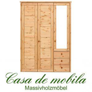 Massivholz Kleiderschrank Kiefer massiv gelaugt/geölt Schlafzimmerschrank RAUNA - 3-türig mit Spiegel und Kassetten-Front