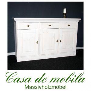 Massivholz Sideboard Anrichte landhausstil 3-türig Bergen - Holz Kiefer massiv weiß lackiert