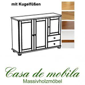 Massivholz Anrichte Kiefer massiv 2-farbig honig lackiert / weiß lasiert GOSLAR - Sideboard mit Kugelfüßen Kommode