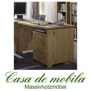 Massivholz Schreibtisch mit Rollcontainer Kiefer massiv gelaugt geölt naturholz Computertisch  GULDBORG 120x69,