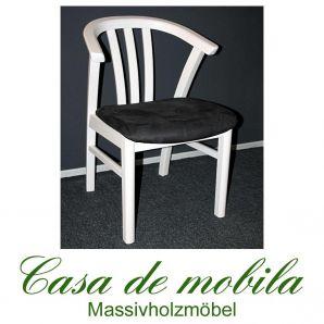 Armlehnstuhl Kiefer massiv weiß lasiert Holzstuhl FARO mit Sitzpolster anthrazit