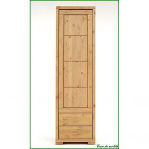 Vitrine mit Holztür groß Guldborg - Holz Kiefer massiv gelaugt geölt
