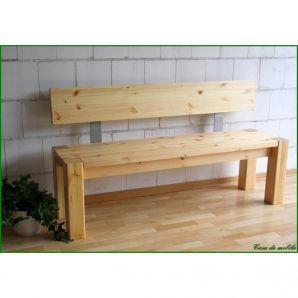 Vollholz Sitzbank 180 cm Bank mit Lehne Guldborg - Holz Kiefer massiv natur lackiert