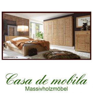 Massivholz Schlafzimmer komplett Kiefer massiv gelaugt geölt Naturholzschlafzimmer Landhaus RAUNA