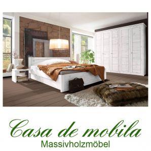 Massivholz Schlafzimmer Kiefer massiv weiss komplett Landhaus Schlafzimmermöbel komplett set mit Bett 200x200, RAUNA weiß lasiert