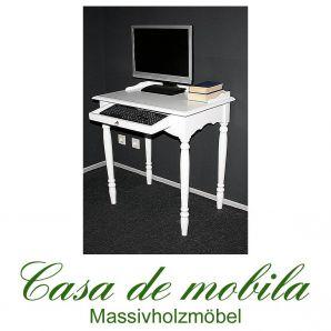 Massivholz Schreibtisch Computertisch PC-Tisch Laptop-Tisch Pappel massiv DECOR weiß lackiert