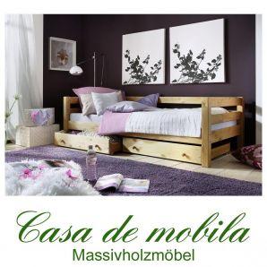 einzelbett 90x200 bett mit schubladen kiefer massiv gelaugt ge lt. Black Bedroom Furniture Sets. Home Design Ideas