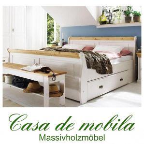 bettgestell mit bettkasten einzelbett 100x200 wei gelaugt. Black Bedroom Furniture Sets. Home Design Ideas