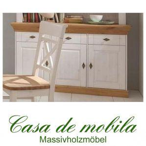 Massivholz Sideboard Anrichte Landhausstil 3-türig Bergen - Kiefer massiv weiß lackiert - gebeizt-geölt