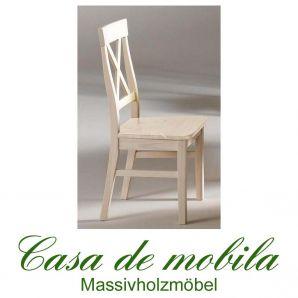Massivholz Stuhl Weiß Stühle Küchenstühle Kiefer massiv Bergen Kiefernstuhl Holzstuhl weiss lackiert