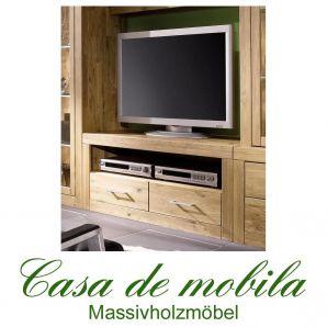 Massivholz TV-Lowboard TV Kommode Jale - Wildeiche massiv geölt