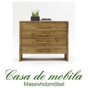 Massivholz Schubladenkommode Kommode antik gewachst - 120x109 Tirol Kiefer massiv Fichte