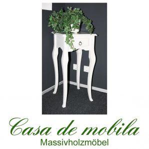 Massivholz Beistelltisch Blumentisch Telefontisch  weiß lackiert Decor - Pappel massiv