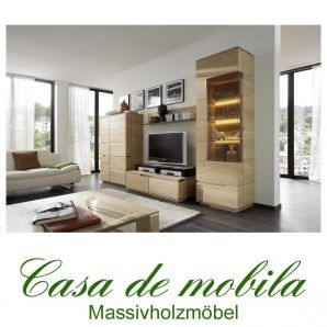 Massivholz Anbauwand rustikale Asteiche massiv gebürstet bianco geölt - Wohnwand ACERRO