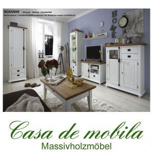 Wohnzimmer komplett Schleiflack weiß ROXANNE Buche Eiche - Wohnzimmer-Set 6-teilig teilmassiv