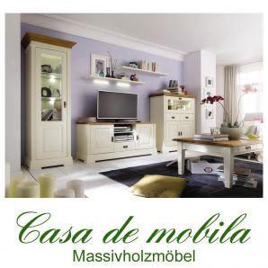 Massivholz Wohnzimmer komplett Holz Kiefer massiv champagner lackiert / Wildeiche geölt NORDIC HOME 6-teilig