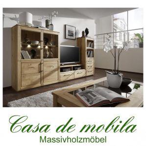 Massivholz Wohnzimmer komplett Wildeiche massiv natur geölt OXFORD 5-teilig