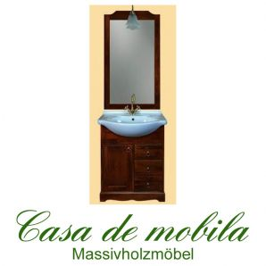 Massivholz  Badmöbel Badezimmer set Pappel massiv braun Kolonial AQUA - 65cm