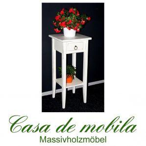 Massivholz Blumentisch Blumenhocker Blumenständer antik weiß 70 cm DECOR