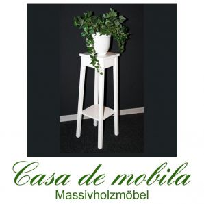 Massivholz Blumenhocker Blumentisch Blumenständer Pappel massiv DECOR - 80cm, weiß lackiert