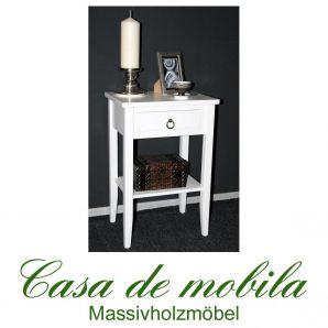 Massivholz Nachtkommode Nachttisch Blumentisch massiv weiß Decor Pappel
